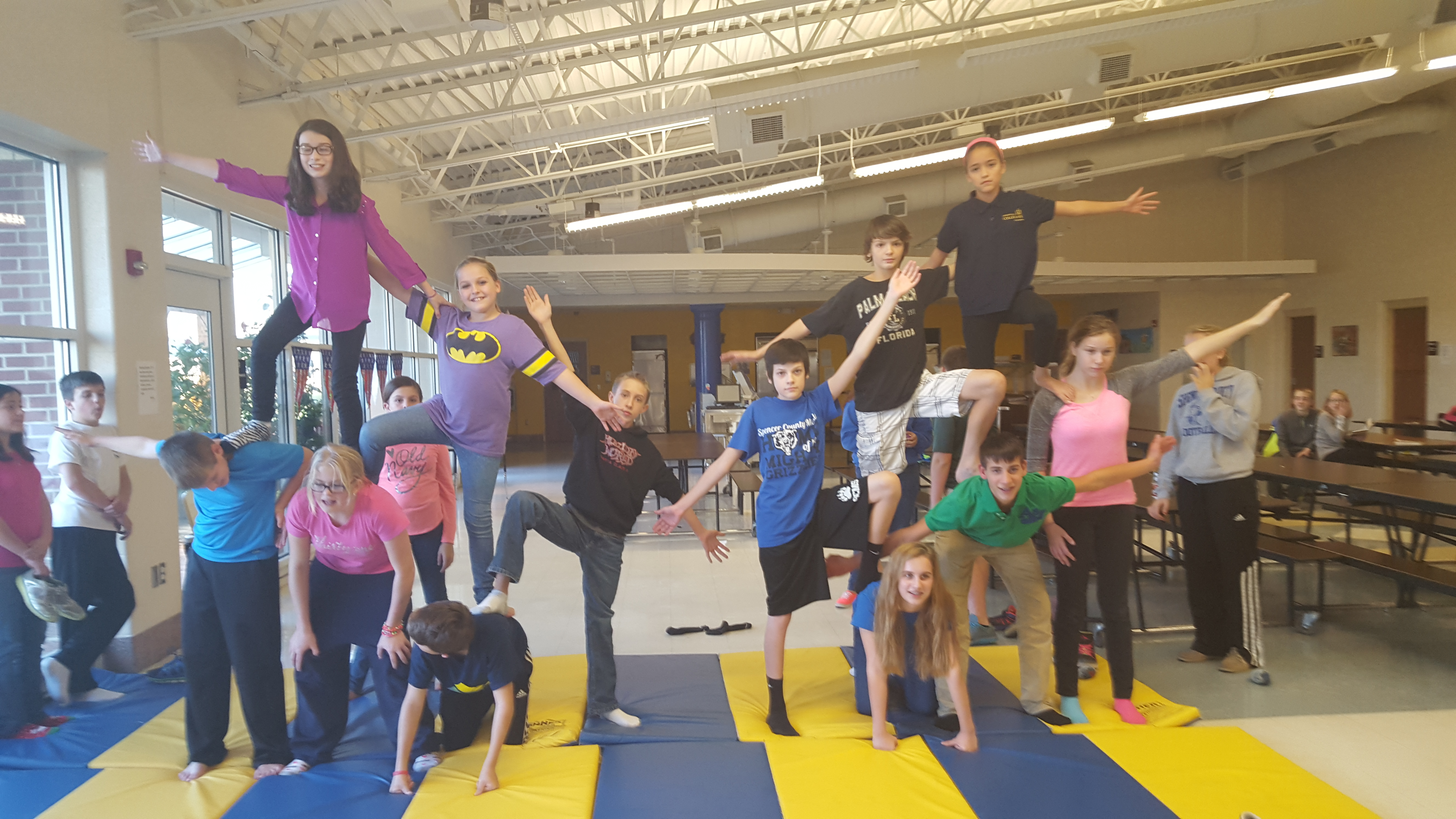 Middle Schoolers learning at Circus Camp