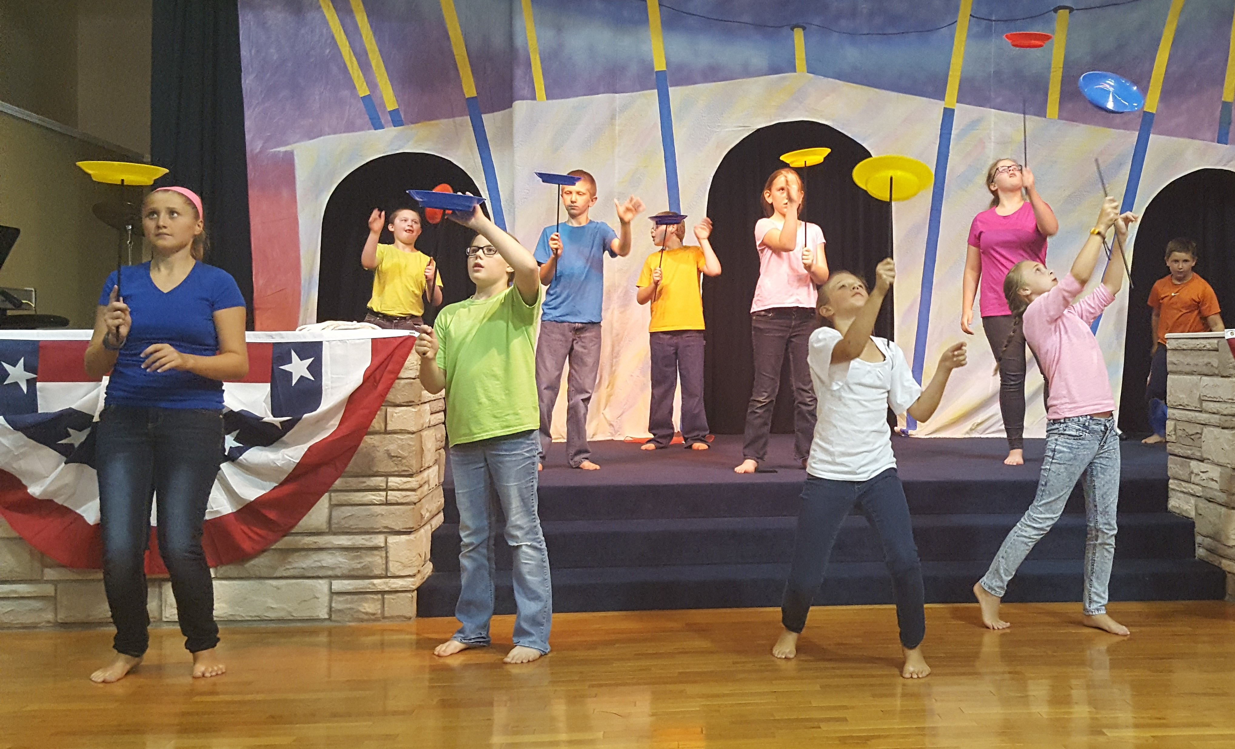 Children Plate Spinning at Circus VBS
